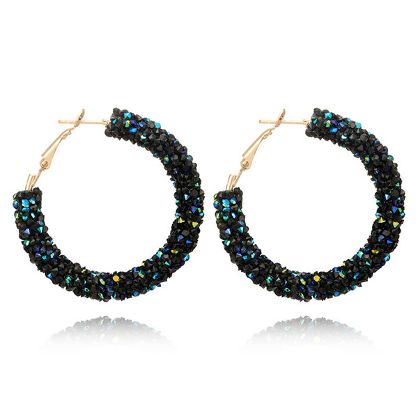 top popular 2021 New Crystal Beads Circle Earrings Women Alloy Blue White Earrings Hoop & Huggie Clothes Fashion Jewelry Gift 2021