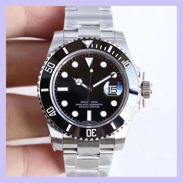 best selling U1 Factory ST9 Ceramic Bezel Black Sapphire Date Stainless Steel 40mm Automatic Mechanical Stainless Steel Mens Men 116610 Wristwatches