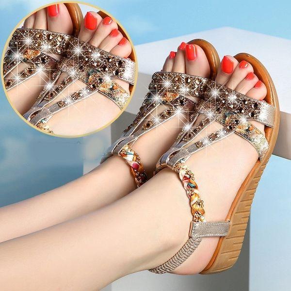 2021 Women Flat Sandals Bohemian String Bead Summer Shoes Flat Sandals Women Casual Beach Sandals Women ShoesDress Shoes