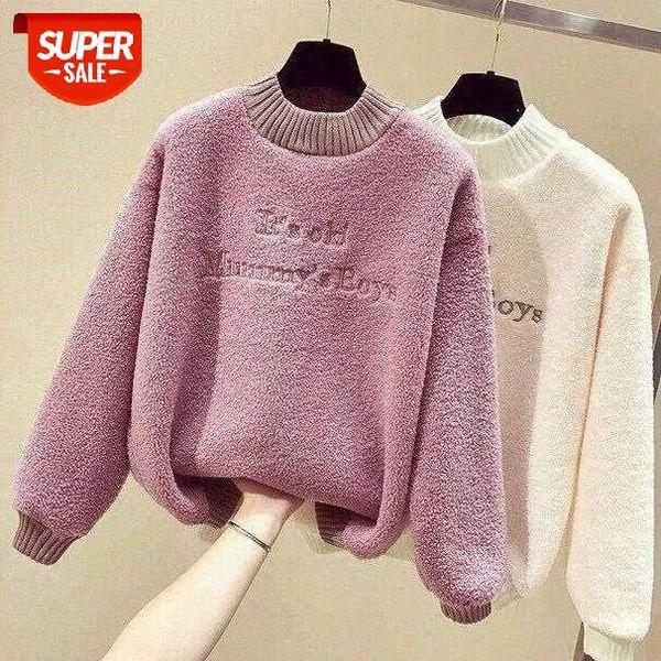 top popular new lamb wool tops sweatshirt women large size pullover oversize Half high collar plus velvet 2020 winter hoodies #ru2r 2021