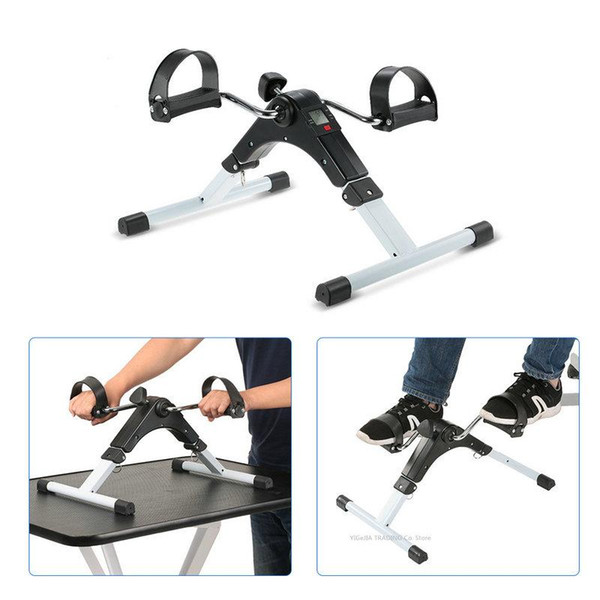 top popular Portable Folding Fitness Pedal Stationary Indoor Exercise Bike Peddler for Arms, Legs, Physical Therapy with Calorie Counter 2021