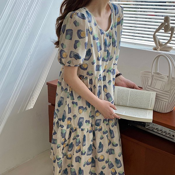 Print Dress for Women Short Puff Sleeve Clothes Summer O-Neck Patchwork Plus Size Korean New Casual Loose Waist Dresses Apparel Womens Clothing Dresses Casual Dresses Party Dresses Runway Dresses Street Style Dresses Work Dresses