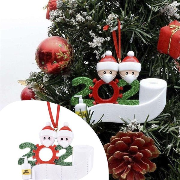 best selling HOT 2020 Quarantine Christmas Birthdays Party Decoration Gift Product Personalized Family Of 2 3 4 5 6 7 Ornament Pandemic Social Distancing