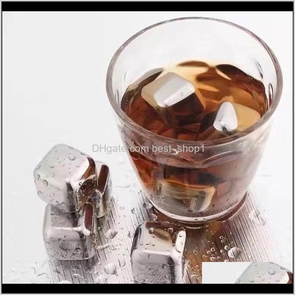 top popular 304 Stainless Steel Ice Cube Reusable Chilling Stones For Whiskey Wine Keep Your Drink Longer Cold Metal Ice Whiskey Red Wine Cooling Qr7Hs 2021