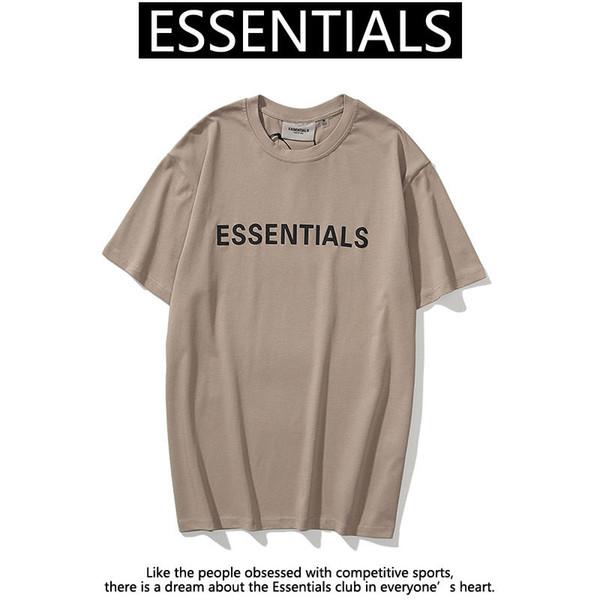 best selling 2021 hip hop t shirt free ship Spring Summer Fear Of God Front Essentials 3D Silicon Tee Skateboard Fog Men Women Short Sleeve Casual
