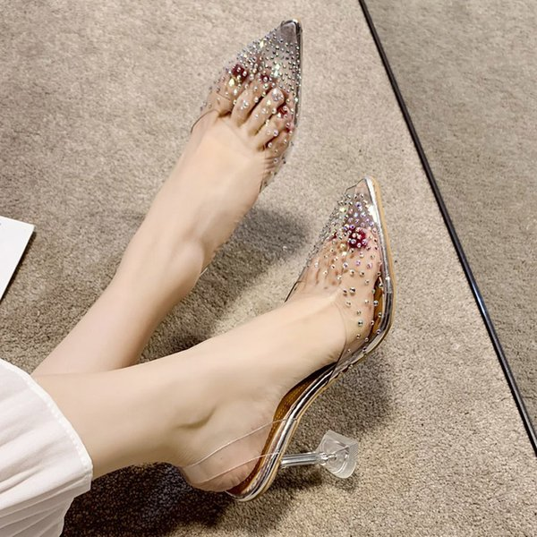 Plus Size 35-42 Summer High Heels Transparent Heels Sandals Pointed Toe Slippers Women Pumps Bling Crystal Jelly Shoes 8197N