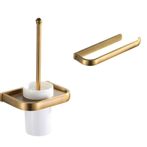 best selling Towel Ring Wall Toilet Roll Paper Holder Brushed Bronze Bathroom Accessories Clean Brush Set Solid Brass Toilet Brush Holder