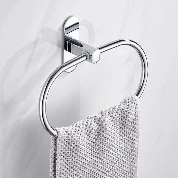 best selling Adhesive Towel Ring Stainless Steel Bathroom Aceessories Towel Holder Wall Mounted Chrome Hand Holder
