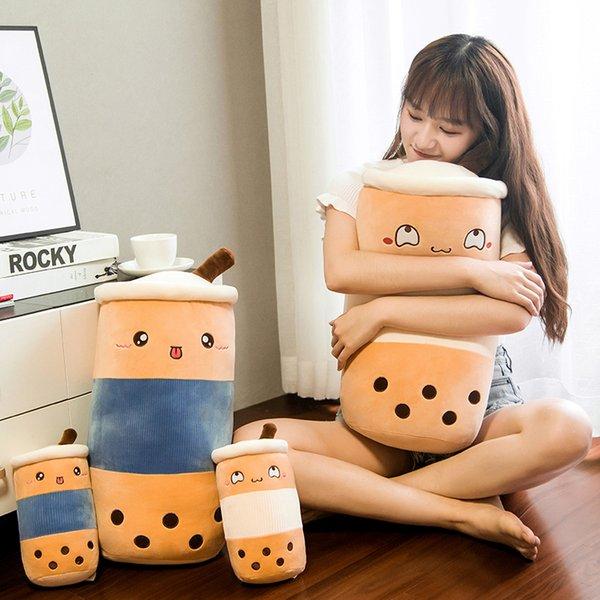 50cm Cute Bubble Tea Cup Shaped Pillow Stuffed Plush Soft Real-life Food Milk Tea Sofa Cushion Funny Toys for Kids Girls Decor
