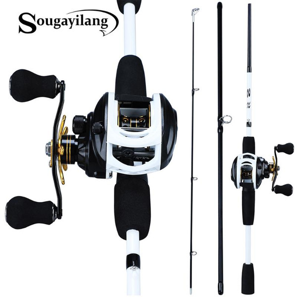 top popular Rod Reel Combo Sougayilang 1.75m Fishing 3 Section Carbon Casting With 12+1BB Baitcasting Tackle Kit 2021