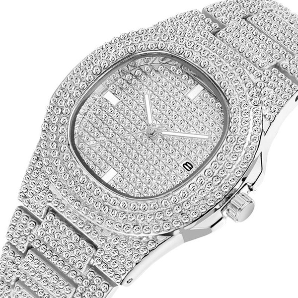 top popular 2021 Mens Watch Shinning Diamond Wacth Iced Out Watches Stainless Steel Men Quartz Movement montre Watch Gift Party Watches Wristwatch Clock 2021