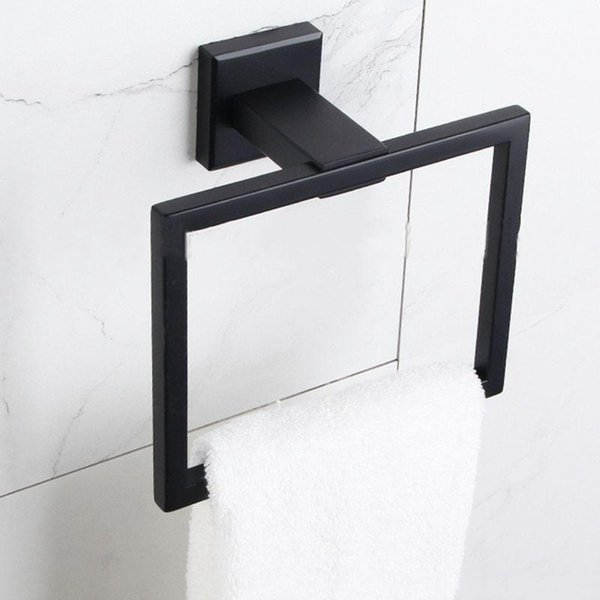 top popular Square Towel Ring Holder Stainless Steel Towel Hanger Wall Mounted European Style Chrome Brushed Rack For Bathroom ZXY1030 2021