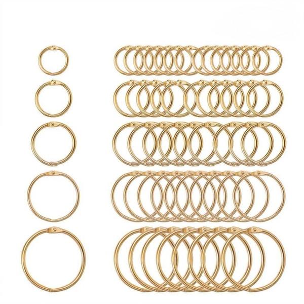 best selling Binding Combs & Spines 5Pc 15-38mm Golden Metal Loose Leaf Book Binder Hinged Rings Keychain Album Scrapbook Craft Black Open Rings Office
