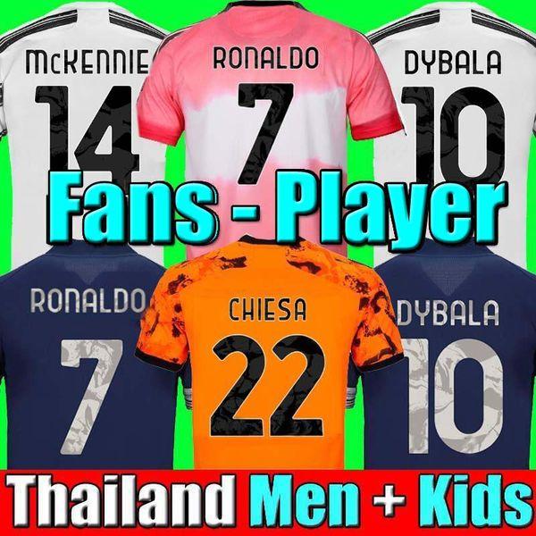 top popular juventus soccer jerseys RONALDO DYBALA MORATA CHIESA McKENNIE football shirt 20 21 JUVE Men + Kids kit fourth 4th HUMAN RACE boys sets 2021