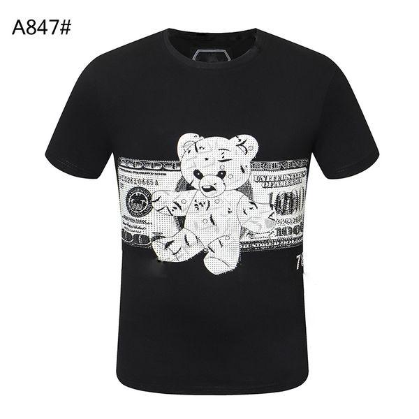 top popular Skull dollar Fashion men T-shirt high quality Summer Basic Solid crystal print letter Casual Punk tops Tee women clothing short sleeve M-3XL 2021