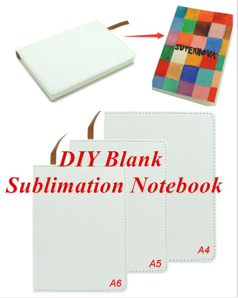 top popular Blank Sublimation Notebook A4 A5 A6 Sublimation PU-Leather Cover Soft Surface Notebook Hot transfer Printing Blank consumables DIY Gifts 2021