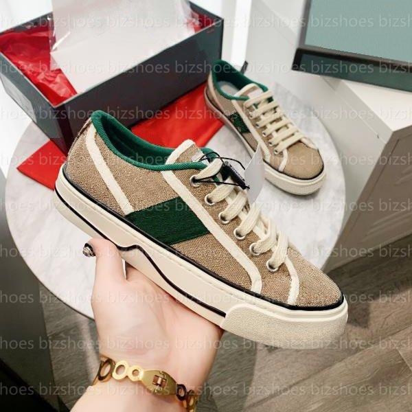 top popular Tennis 1977 canvas casual shoes Luxurys Designers womens shoe Italy Green and red Web stripe Rubber sole stretch cotton low-top mens sneaker 2021