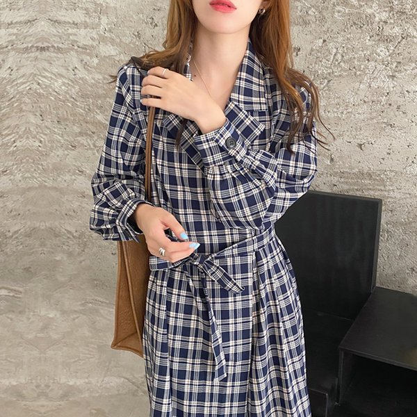Plaid Woman Dress Notched Neck Long Sleeve Clothing Spring Autumn Korean Fashion Dresses A-Line Mid-Calf Dress 2021 New Apparel Womens Clothing Dresses Casual Dresses Party Dresses Runway Dresses Street Style Dresses Work Dresses