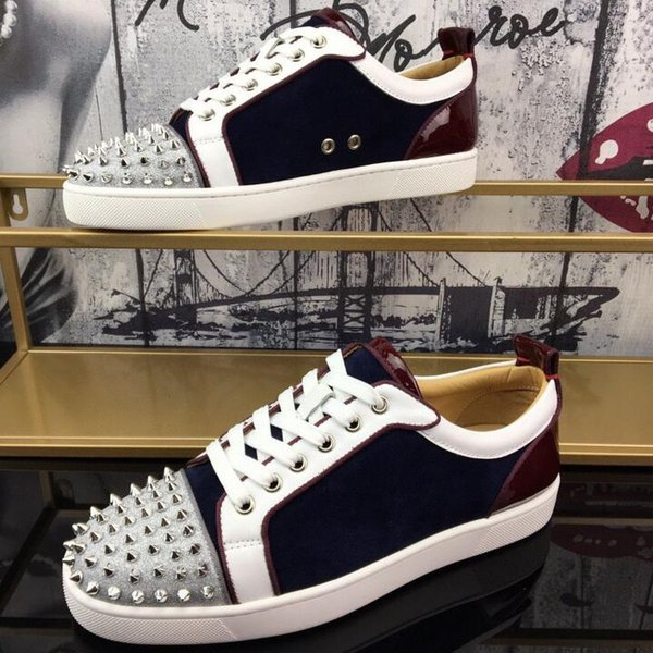 top popular 2021 designer facilities nail red sole leather drill willow nail low top casual shoes men's high quality wholesale sports shoes 2021