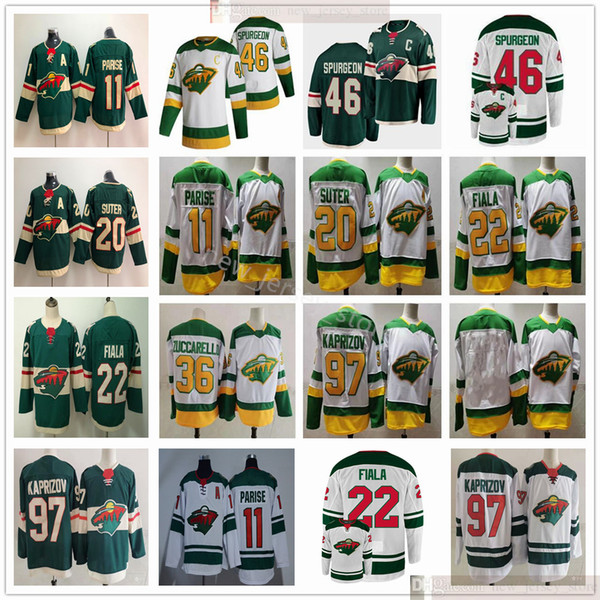 top popular 2021 Reverse Retro Minnesota Wild Hockey 46 Jared Spurgeon 97 Kirill Kaprizov 11 Zach Parise 22 Kevin Fiala Matt Dumba Ryan Suter Jerseys 2021