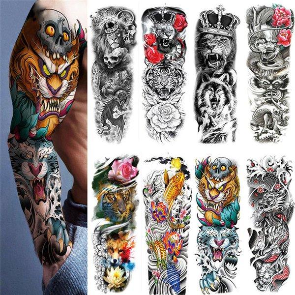 Beauty & Health Waterproof Temporary Tattoo Sticker Totem Geometric Full Arm Large Size Sleeve Tatoo Fake tatto flash tattoos for men women