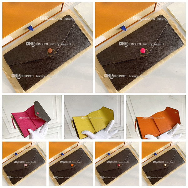 top popular 5A 2021 Top quality luxurys designers bag Envelope clip fashion pocke women bags leather wallet lady ladies long purse with box card 2021