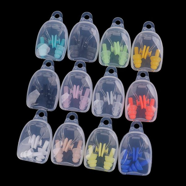 best selling Protective Prevent Water Protection Ear Plug Waterproof Soft Silicone Swim Dive Supplies Soft Swimming Earplugs Nose Clip Case