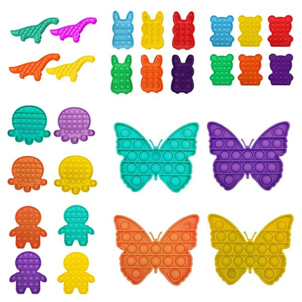 best selling 35 Designs Pop Fidget Push Bubble Toys Adult Kids Butterfly Dinosaur Shaped Pop Sensory Toy Autism Special Needs Stress Reliever