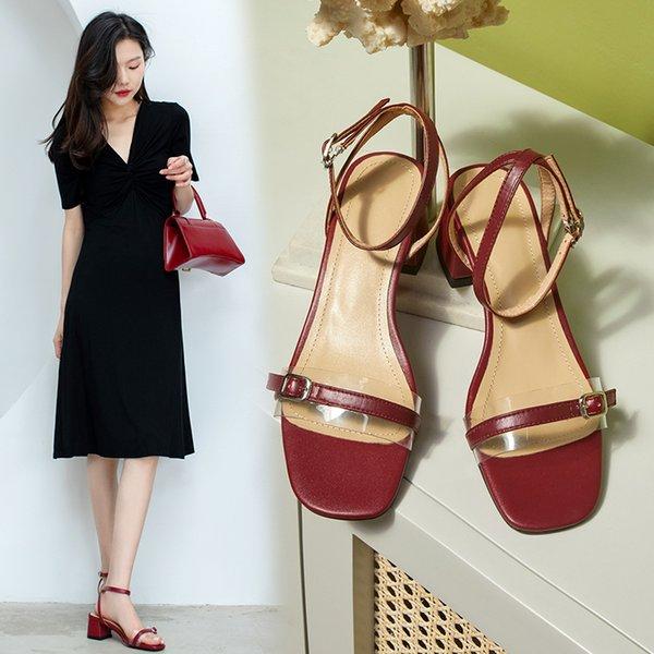 2021 Fashion Classic Sandals Women High Heels Square Toe Chunky Heel Shoes Women Sandals Ladies Shoes Heels Women Sandals