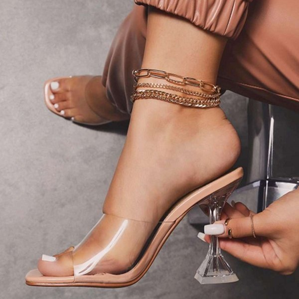 Summer women sandals PVC Transparent high heel shoes for women peep toe high heels sandals party wedding slippers shoes woman