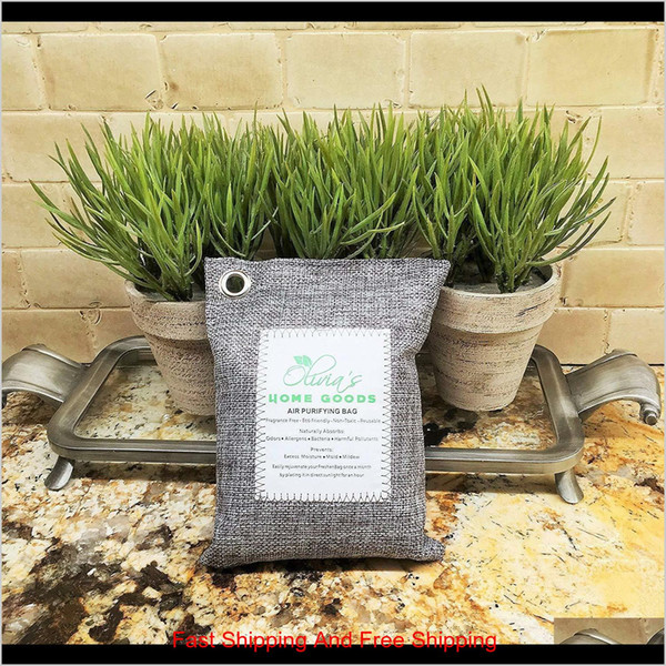 best selling New Air Purifying Bag Bamboo Charcoal Bag Air Freshener Odor Deodorizer 200G Natural Sqcdsnp 26C72 Xchgr