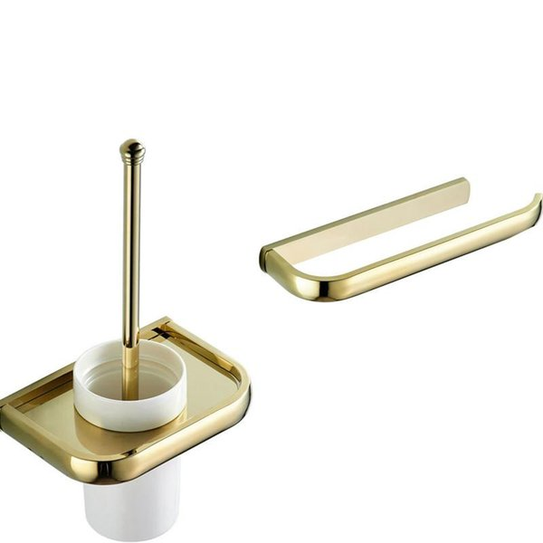top popular Towel Ring Bar Solid Brass Toilet Roll Paper Holder Wall Corner Shelf Luxury Gold Bathroom Accessories Toilet Brush Holder Set 2021