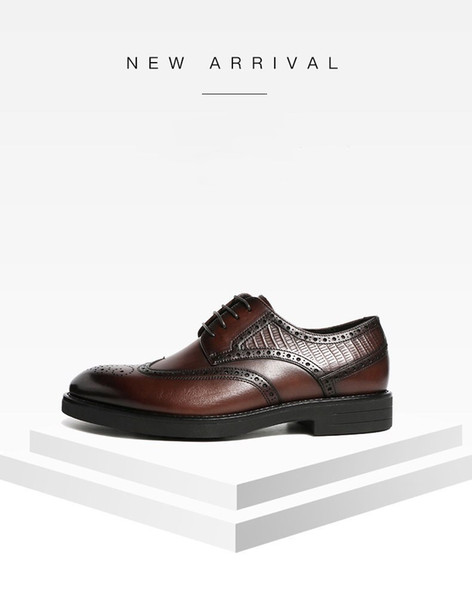 top popular The hotest designer men's leather shoes with lace, casual, comfortable lace-up shoes, black and brown size:39-47 handmade 2021