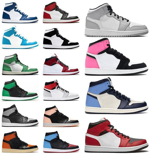 top popular Top quality Mens sneakers 1 1s shoes chicago wolf grey sail mid milan pink quartz infrared 23 UNC powder blue white rust shadow women traienrs 2021