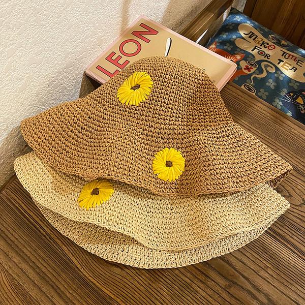 2021 Hat Female Straw Hat Korean Fashion Japanese Summer straw hat Little Fresh Little Daisy Sunscreen Forest Beach Sunhat