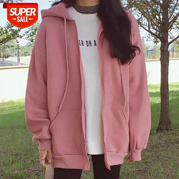top popular oversized Zipper Hoodies New Fashion Women Warm Casual Coat Loose Long Sleeve Print Strappy plus size Sweatshirt Tops Hoodies #Gr58 2021