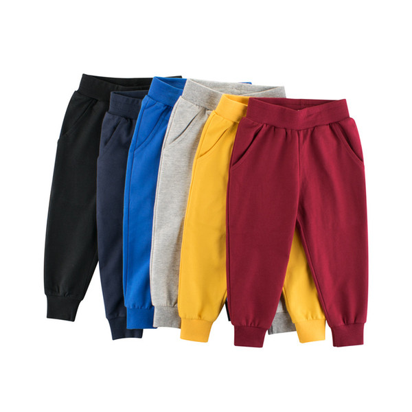 best selling 1-9 Years Boys Long Sport Pants Children Girls 100% Cotton Solid Trousers Spring Autumn Casual Sweatpants