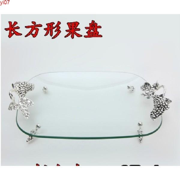 top popular Large and medium-sized hotel compote alloy toughened glass oval fruit bowl Simple ideas dry trayhigh quatity 2021