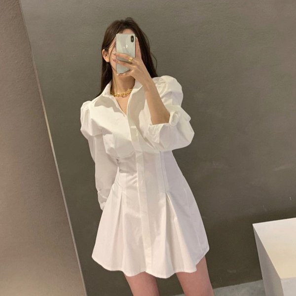 Shirt Dress Korean Style Fashion Lantern Sleeve Clothing Single Breasted Casual Solid Turn-Down Collar Summer Dresses Apparel Womens Clothing Dresses Casual Dresses Party Dresses Runway Dresses Street Style Dresses Work Dresses