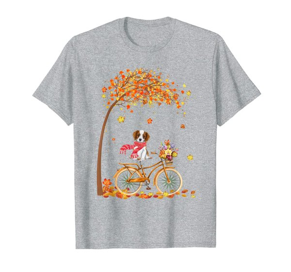 Cavalier King Charles Spaniel Riding Bicycle Autumn Leaves T-Shirt