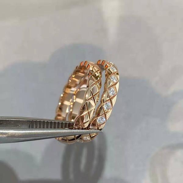 Gold Check Diamond Ring