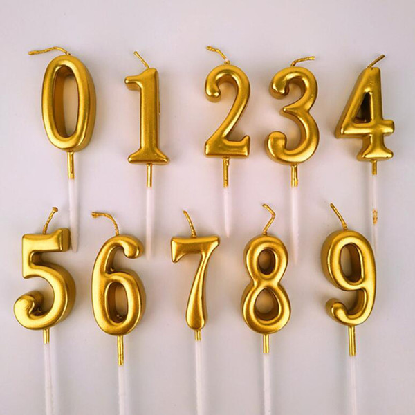 top popular Silver Golden Candles For Happy Birthday Party Decorations Kids Adult 0-9 Number Candles Cake Cupcake Topper Party Supplies 2021