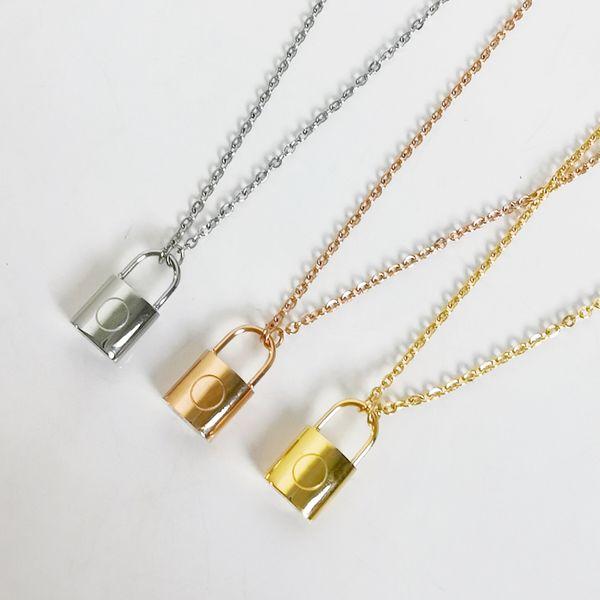 top popular luxury designer jewelry women necklace gold lock pendant designer necklace for men elegant silver chain necklace and earrings bracelets suit 2021