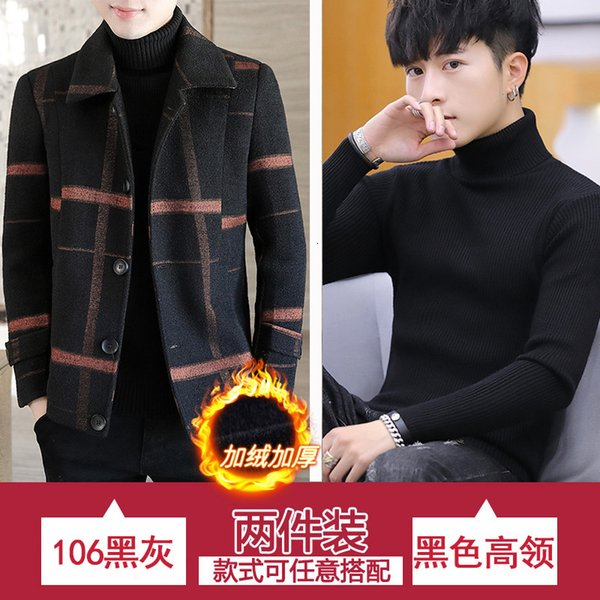 106 Black Red Plush And Thickened + Black Turtleneck