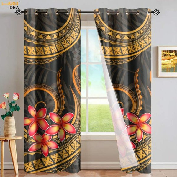 best selling Curtain & Drapes HUGSIDEA Tribe Polynesian Plumeria Printing Full Shading Panels Home Window Curtains Blackout Thermal Insulated Grommet