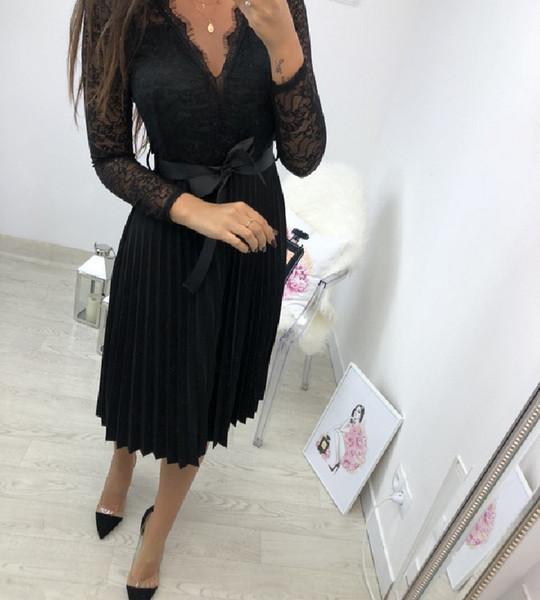 Sexy Women Hollow Out Lace Long Sleeve Cocktail Dress Elegant Party Dress Black Lace Dress Robes De Cocktail