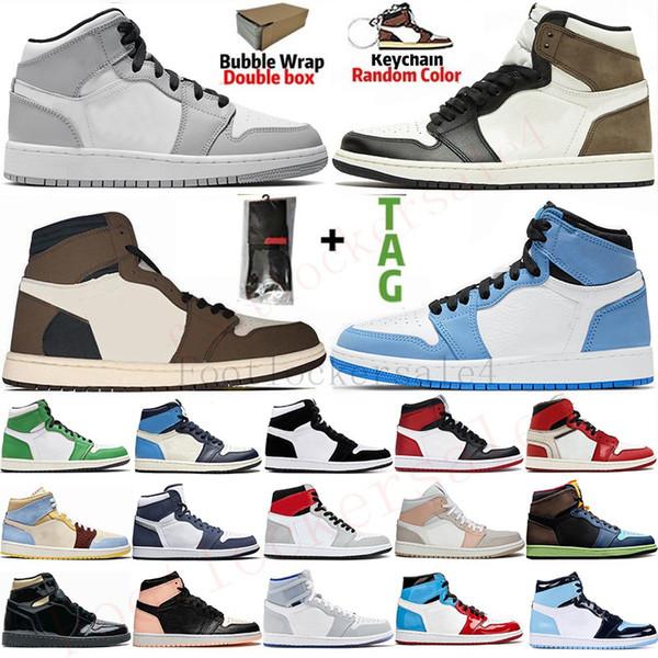 best selling 1s University Blue UNC Mens Basketball Shoes Jumpman 1 High Travis Scotts Dark Mocha Obsidian Trainers Black Toe Sports Sneakers Size 36-47