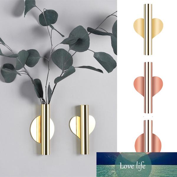 best selling 1Pcs Creative Rose Golden Stainless steel Vase Wall Holder Flowerpot Home Wedding Decoration For Livingroom Wall Mirror Vase