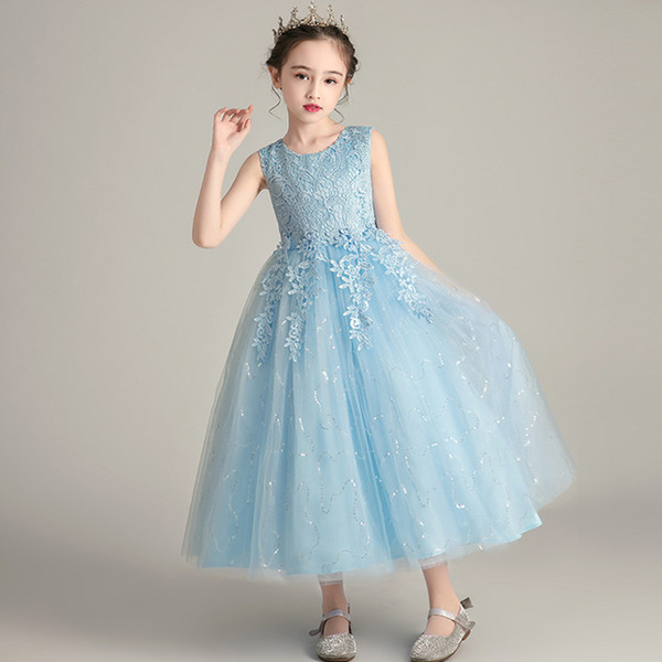 New flower girl Princess Birthday wedding party long Sequin dress girls feast party first party embroidery long dress