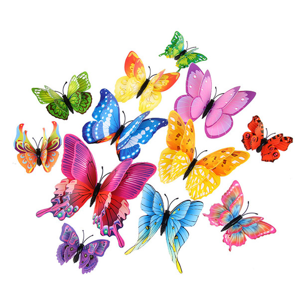 best selling 2021 3D Double-layer simulation butterfly decoration wall stickers 12pc 3d butterflies 3d butterfly pvc removable wall stickers butterflys